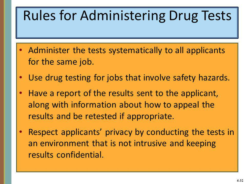 Rules for Administering Drug Tests