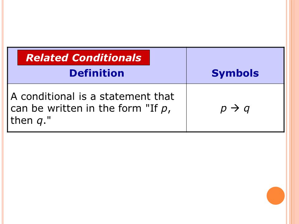 Definition Symbols. A conditional is a statement that can be written in the form If p, then q. p  q.
