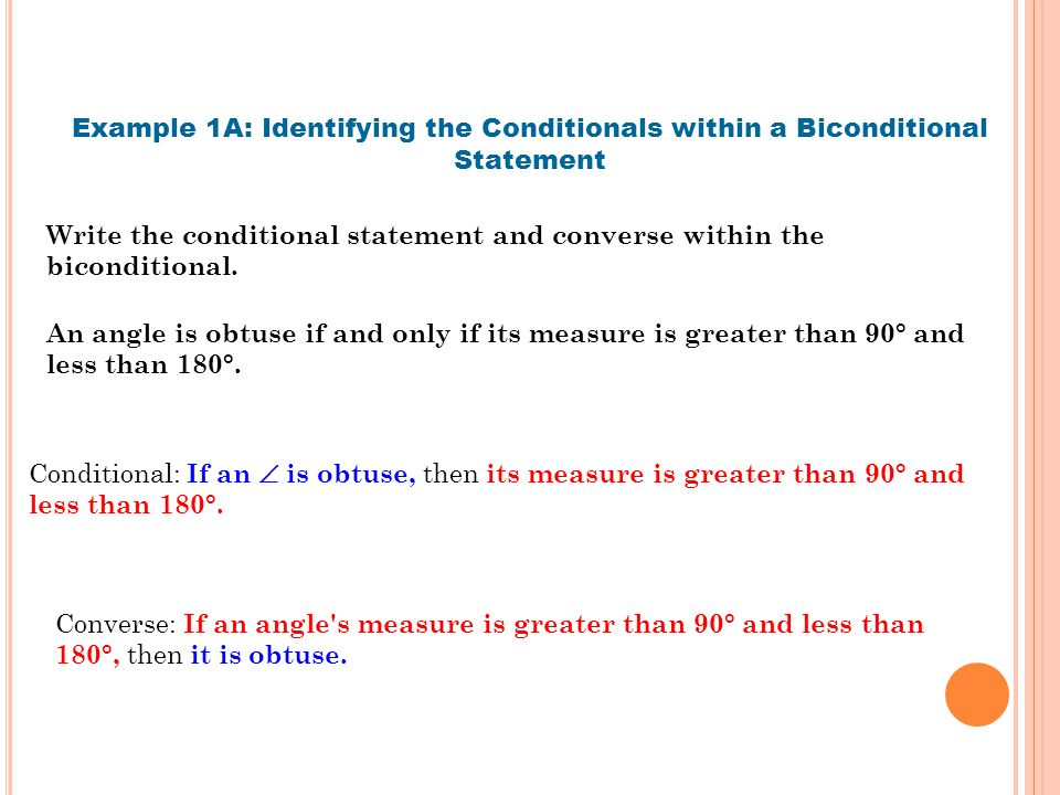 Example 1A: Identifying the Conditionals within a Biconditional Statement