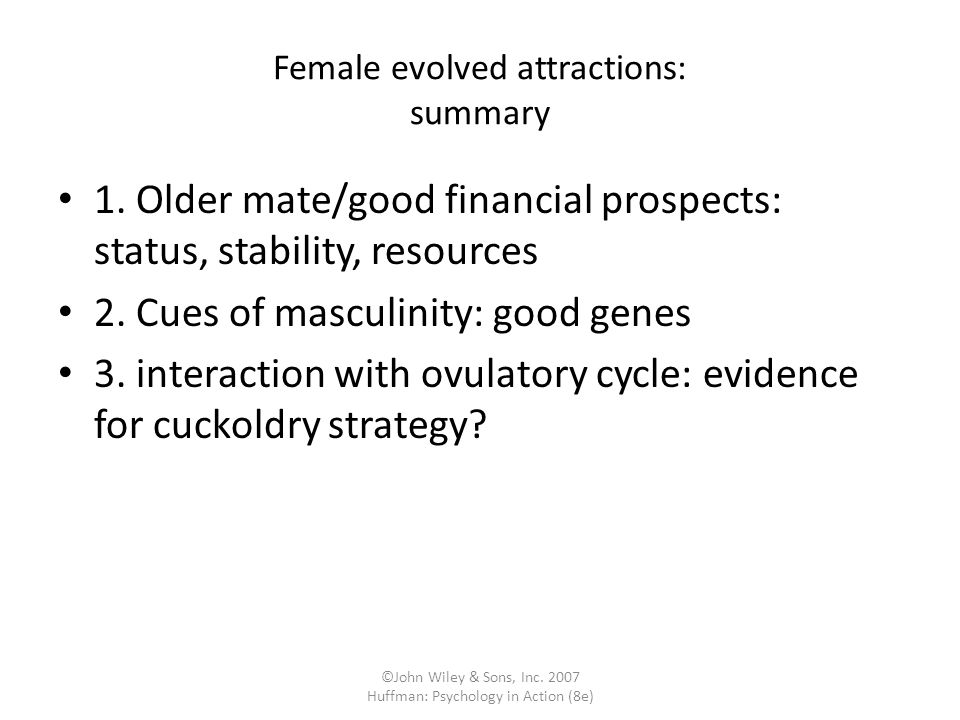 Female evolved attractions: summary