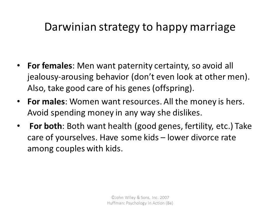Darwinian strategy to happy marriage