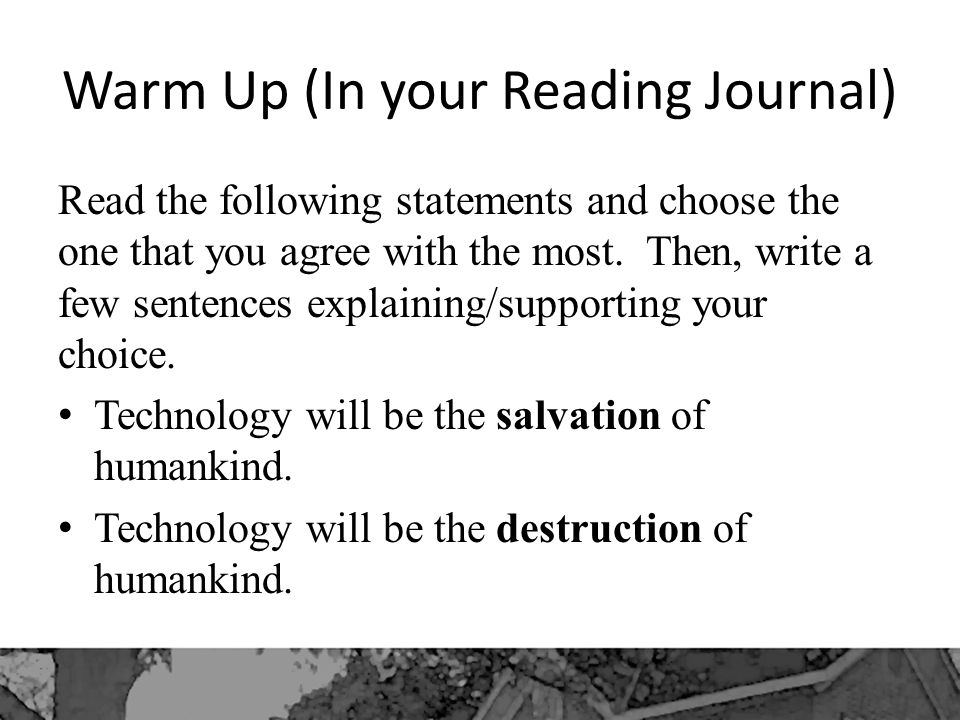 Warm Up (In your Reading Journal)