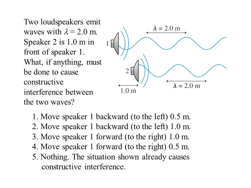 1. Move speaker 1 backward (to the left) 0.5 m.