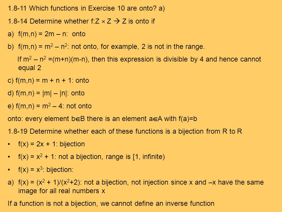 1.8-11 Which functions in Exercise 10 are onto a)