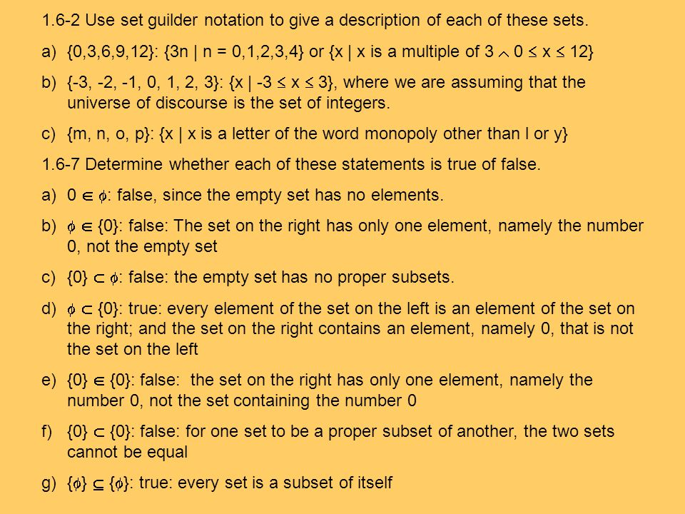 1.6-2 Use set guilder notation to give a description of each of these sets.