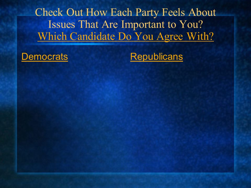 Check Out How Each Party Feels About Issues That Are Important to You
