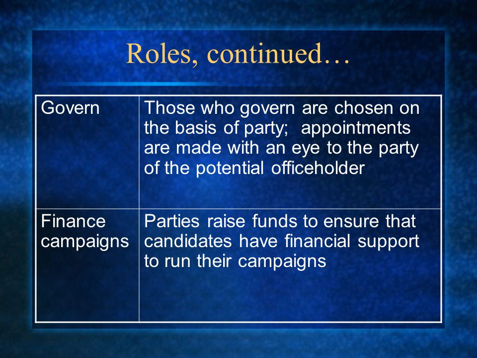 Roles, continued… Govern