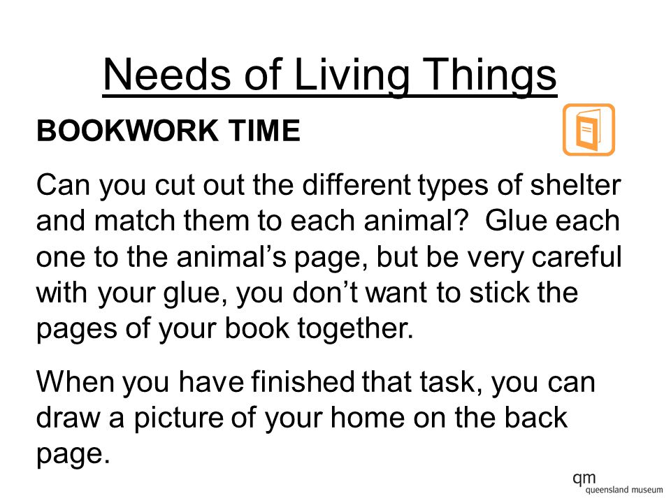 Needs of Living Things BOOKWORK TIME