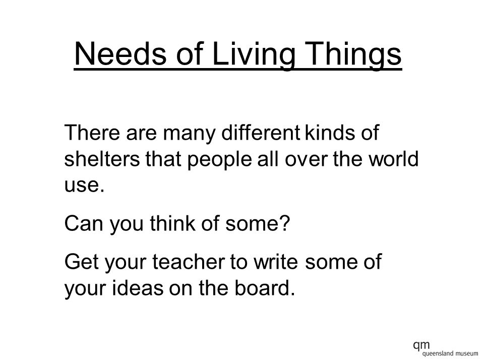 Needs of Living Things There are many different kinds of shelters that people all over the world use.