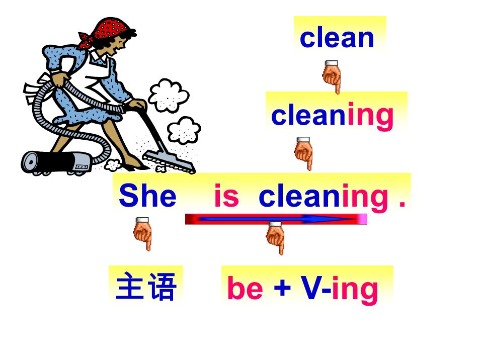 clean cleaning She is cleaning . 主语 be + V-ing