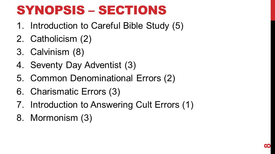 Synopsis – Sections Introduction to Careful Bible Study (5)