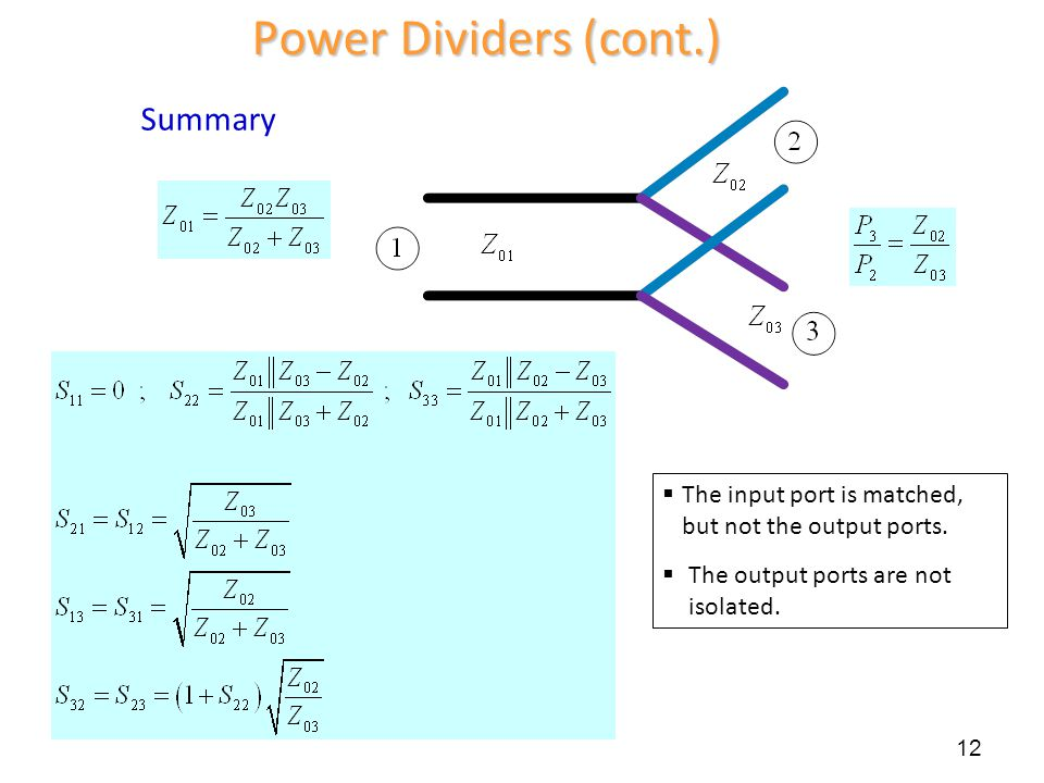 Power Dividers (cont.) Summary