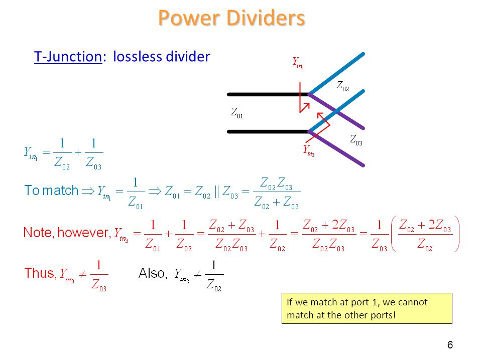 Power Dividers T-Junction: lossless divider