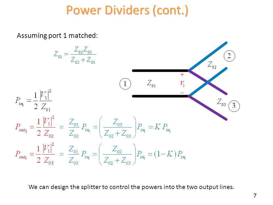 Power Dividers (cont.) Assuming port 1 matched: