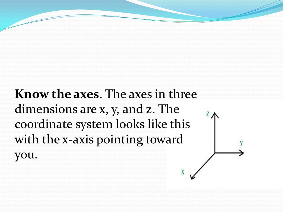 Know the axes. The axes in three dimensions are x, y, and z