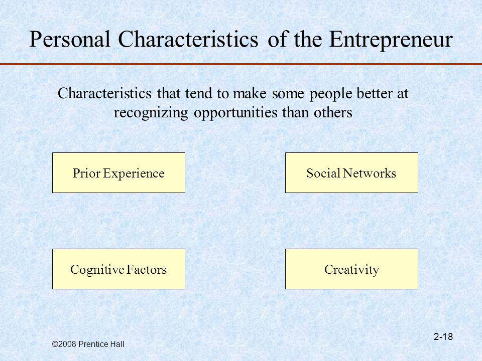 Personal Characteristics of the Entrepreneur