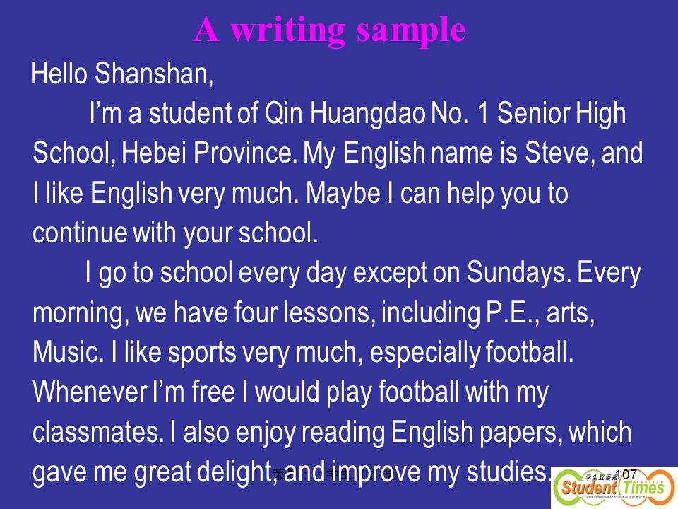 A writing sample Hello Shanshan,