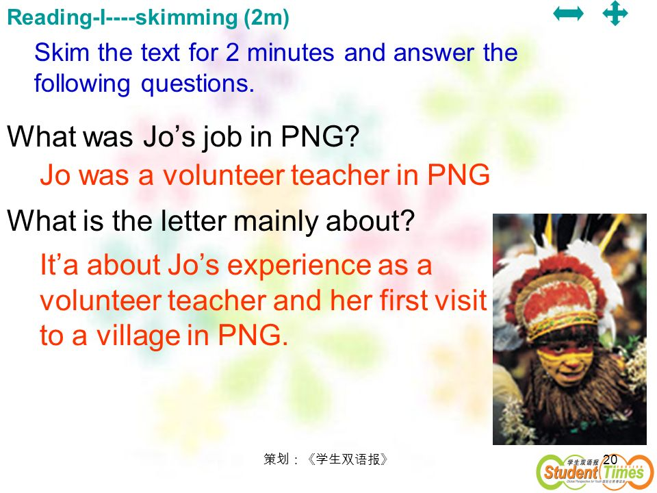 What is the letter mainly about Jo was a volunteer teacher in PNG