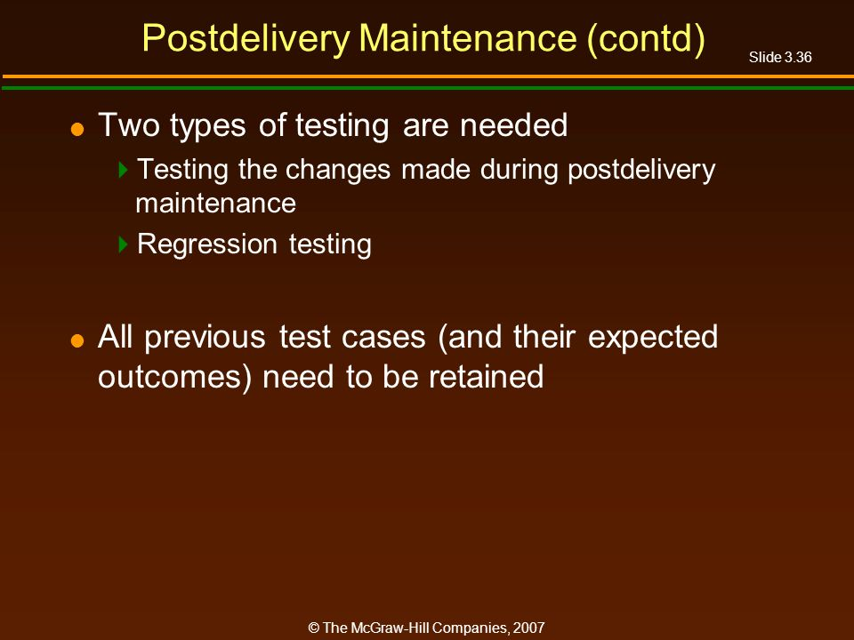 Postdelivery Maintenance (contd)