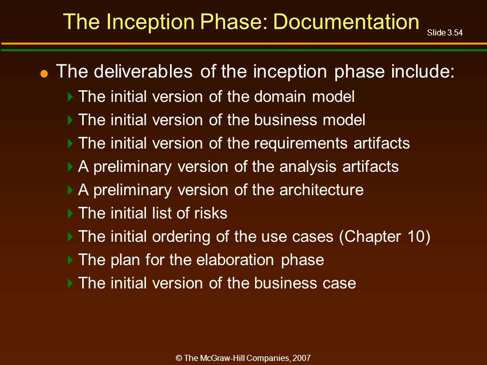 The Inception Phase: Documentation