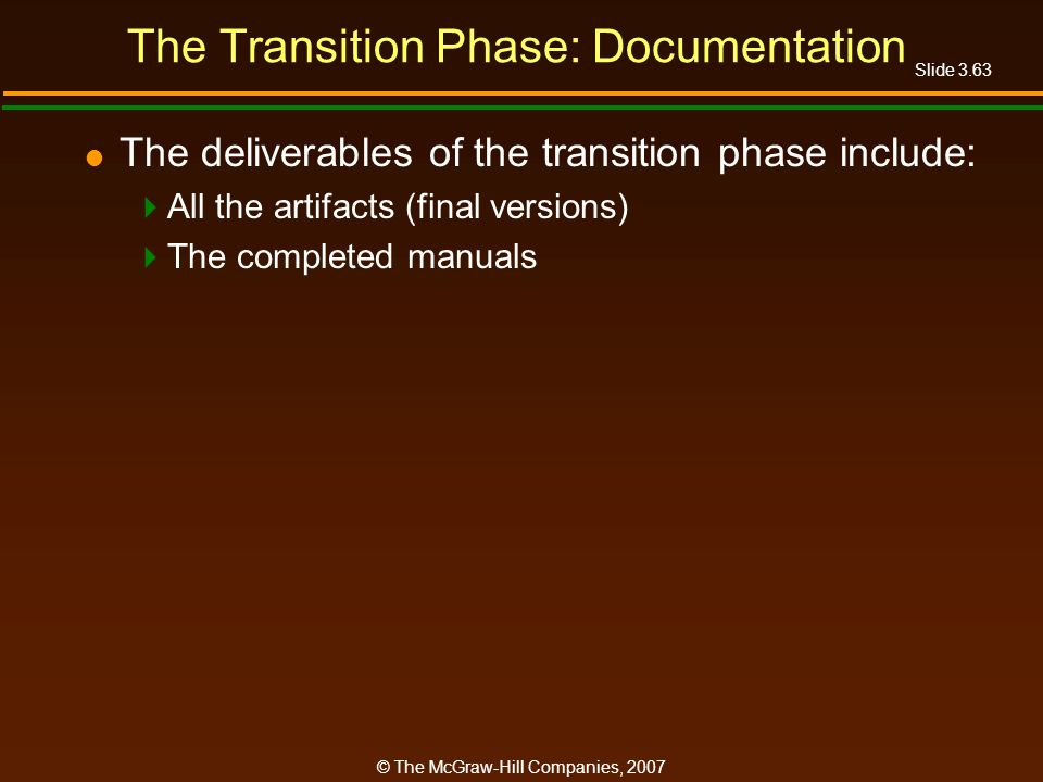The Transition Phase: Documentation