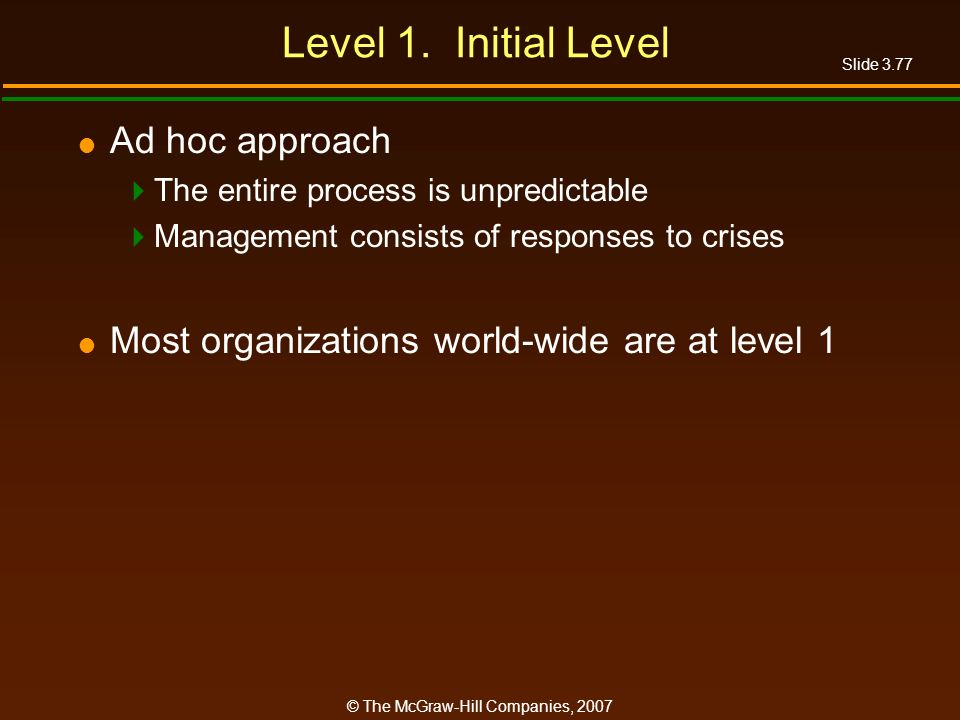 Level 1. Initial Level Ad hoc approach