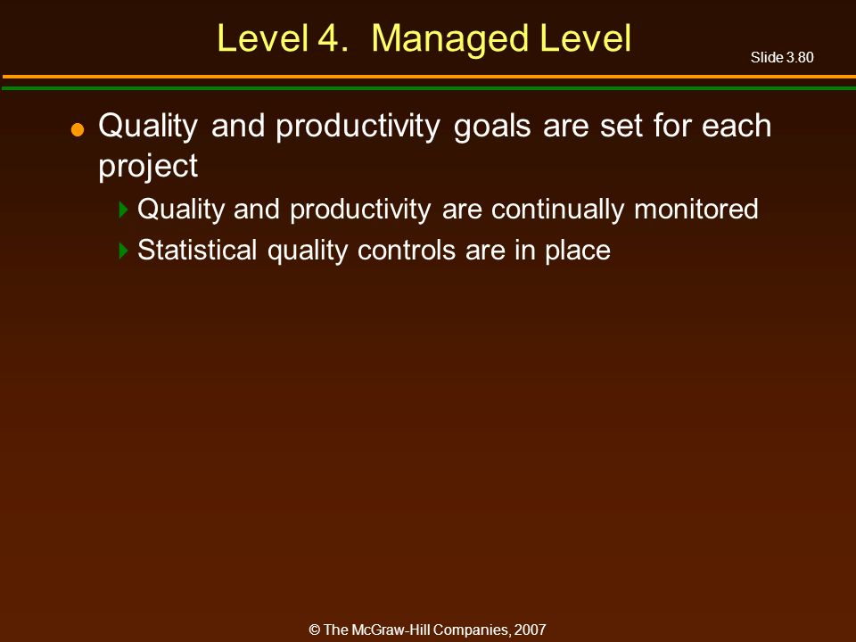 Level 4. Managed Level Quality and productivity goals are set for each project. Quality and productivity are continually monitored.
