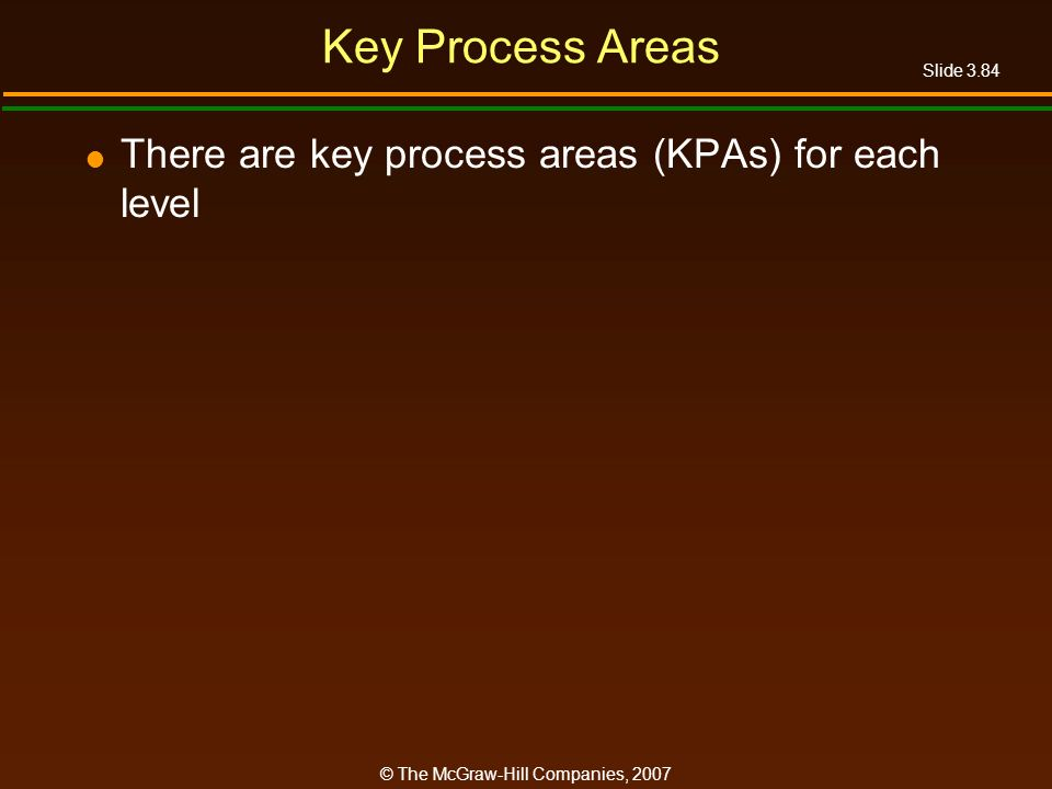 Key Process Areas There are key process areas (KPAs) for each level
