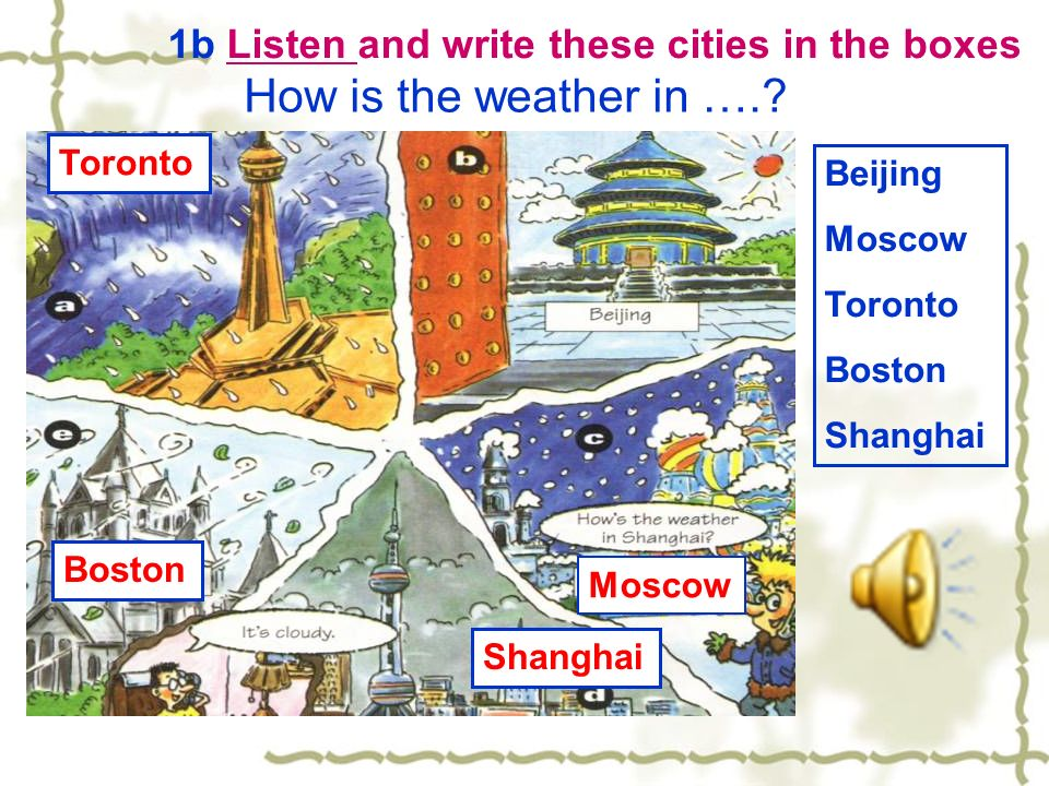 1b Listen and write these cities in the boxes