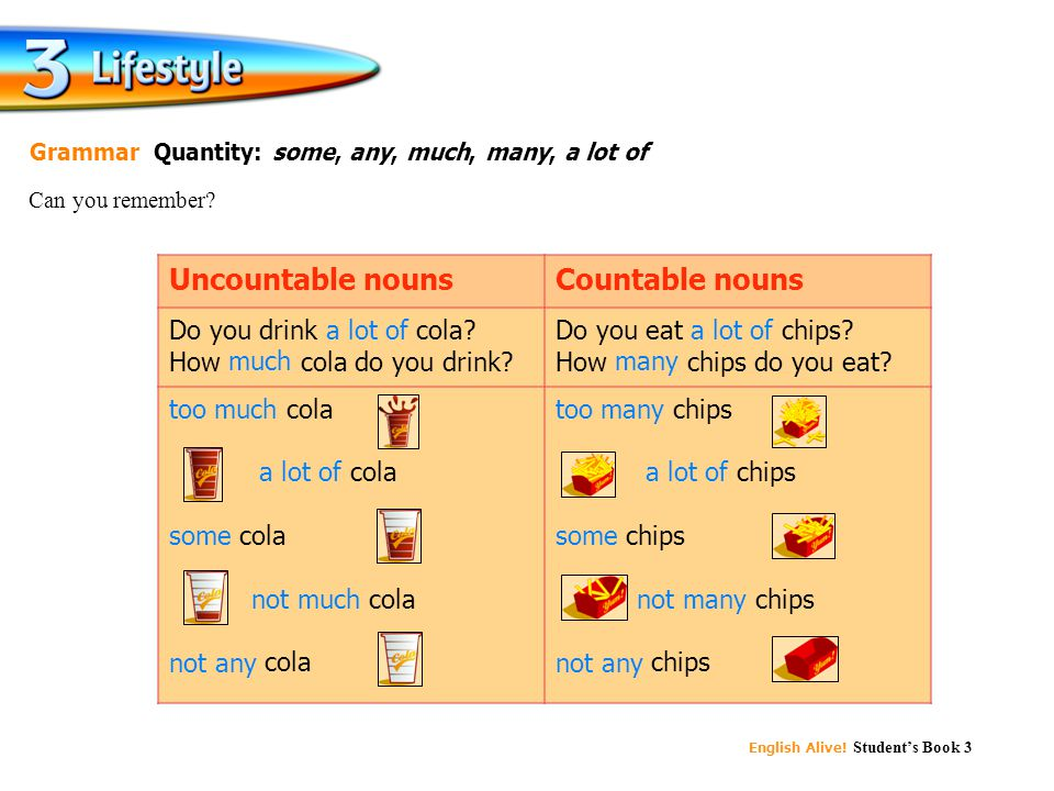 Uncountable nouns Countable nouns Do you drink a lot of cola