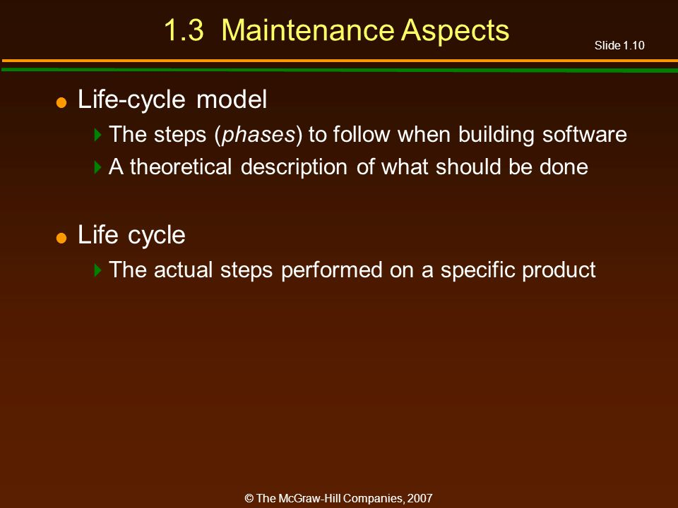1.3 Maintenance Aspects Life-cycle model Life cycle
