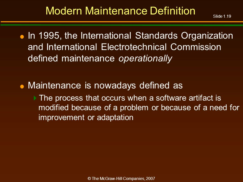 Modern Maintenance Definition