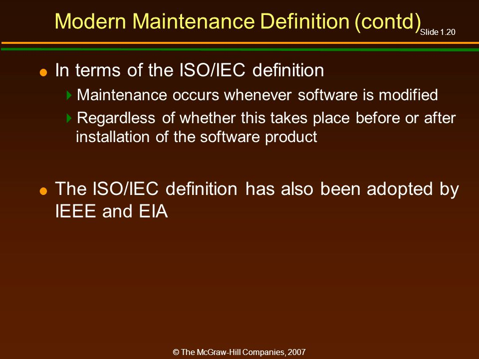 Modern Maintenance Definition (contd)