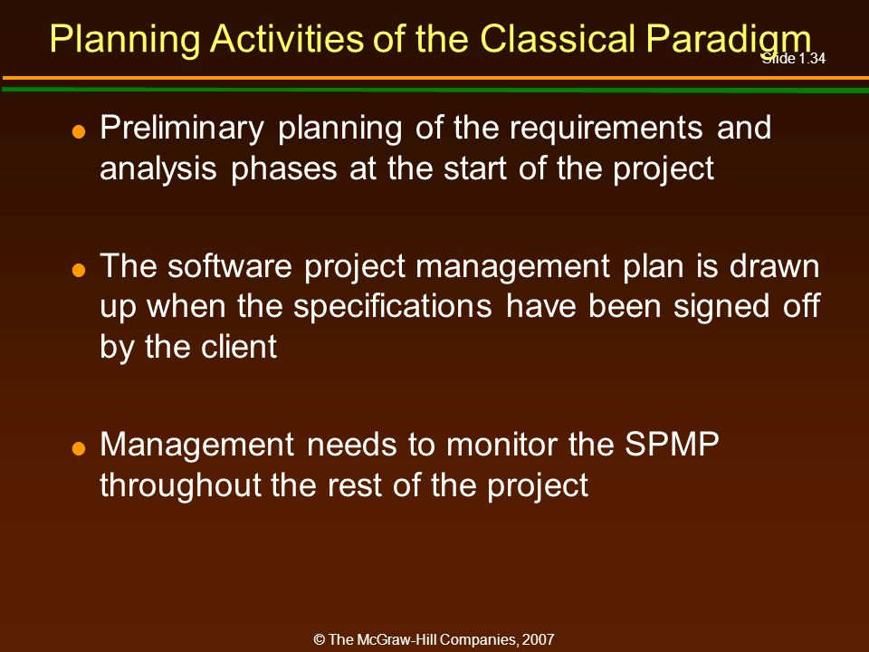 Planning Activities of the Classical Paradigm