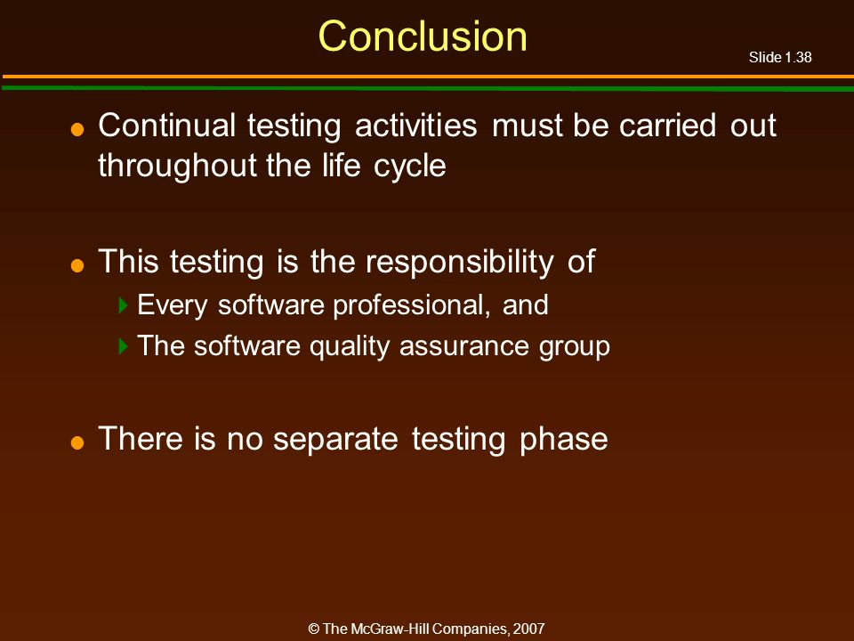 Conclusion Continual testing activities must be carried out throughout the life cycle. This testing is the responsibility of.