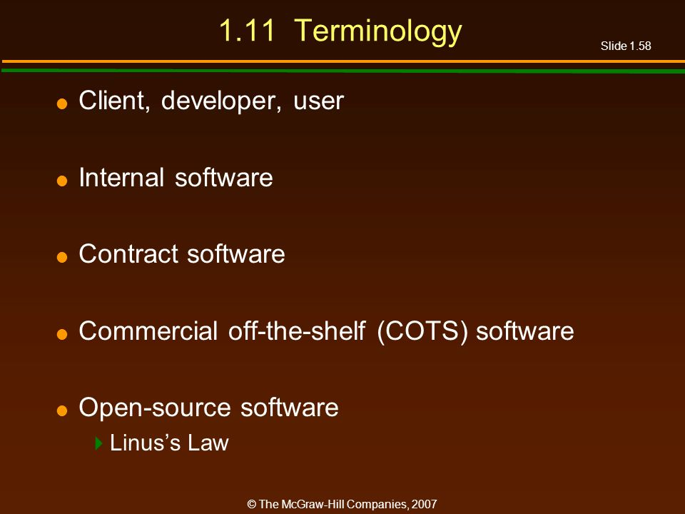 1.11 Terminology Client, developer, user Internal software