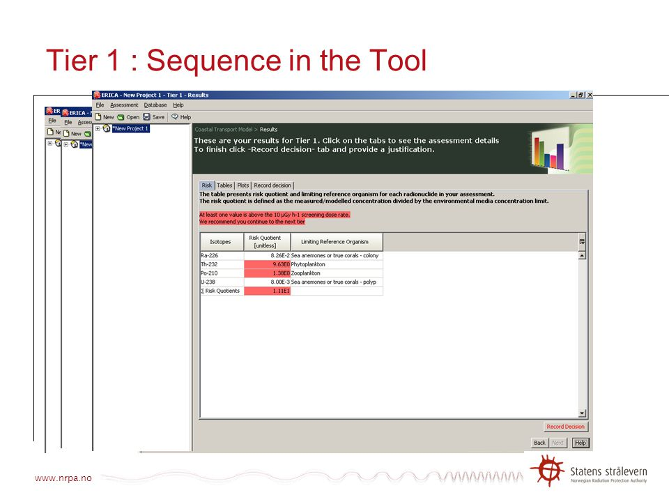Tier 1 : Sequence in the Tool