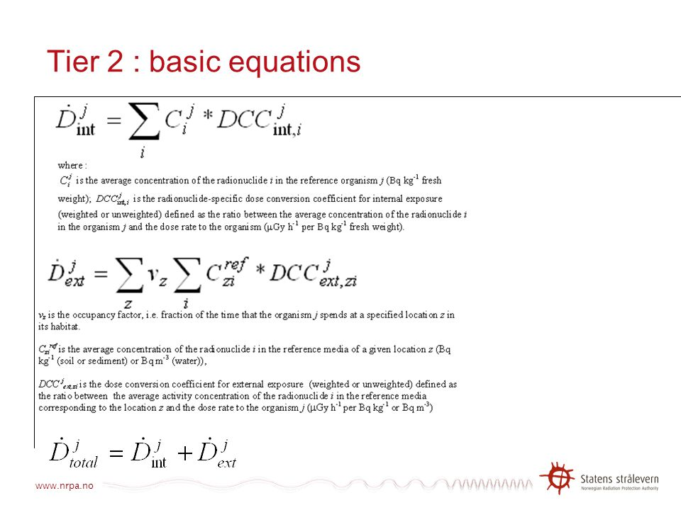 Tier 2 : basic equations