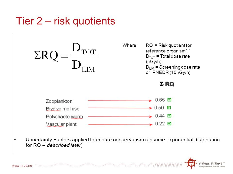 Tier 2 – risk quotients Uncertainty Factors applied to ensure conservatism (assume exponential distribution for RQ – described later)