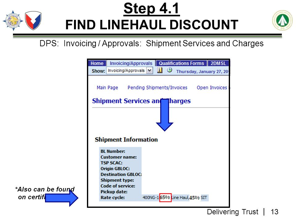 Step 4.1 FIND LINEHAUL DISCOUNT *Also can be found on certified GBL*