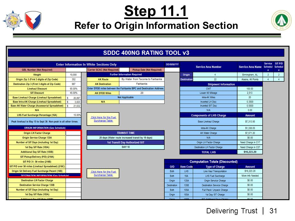Step 11.1 Refer to Origin Information Section