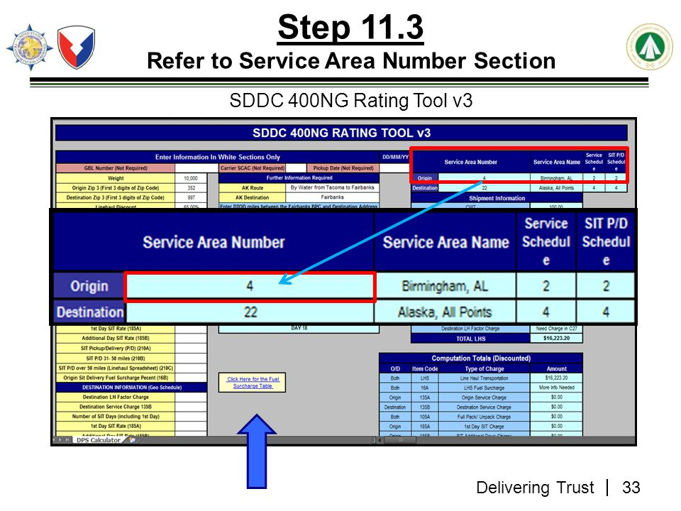 Step 11.3 Refer to Service Area Number Section SDDC 400NG Rating Tool v3