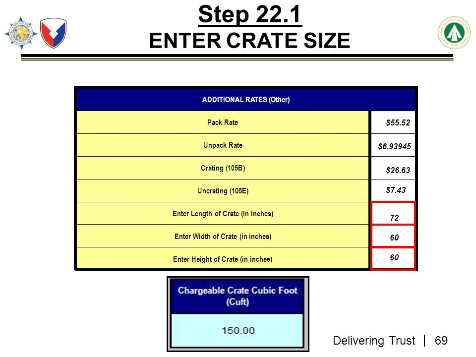 Step 22.1 ENTER CRATE SIZE ADDITIONAL RATES (Other) Pack Rate $55.52