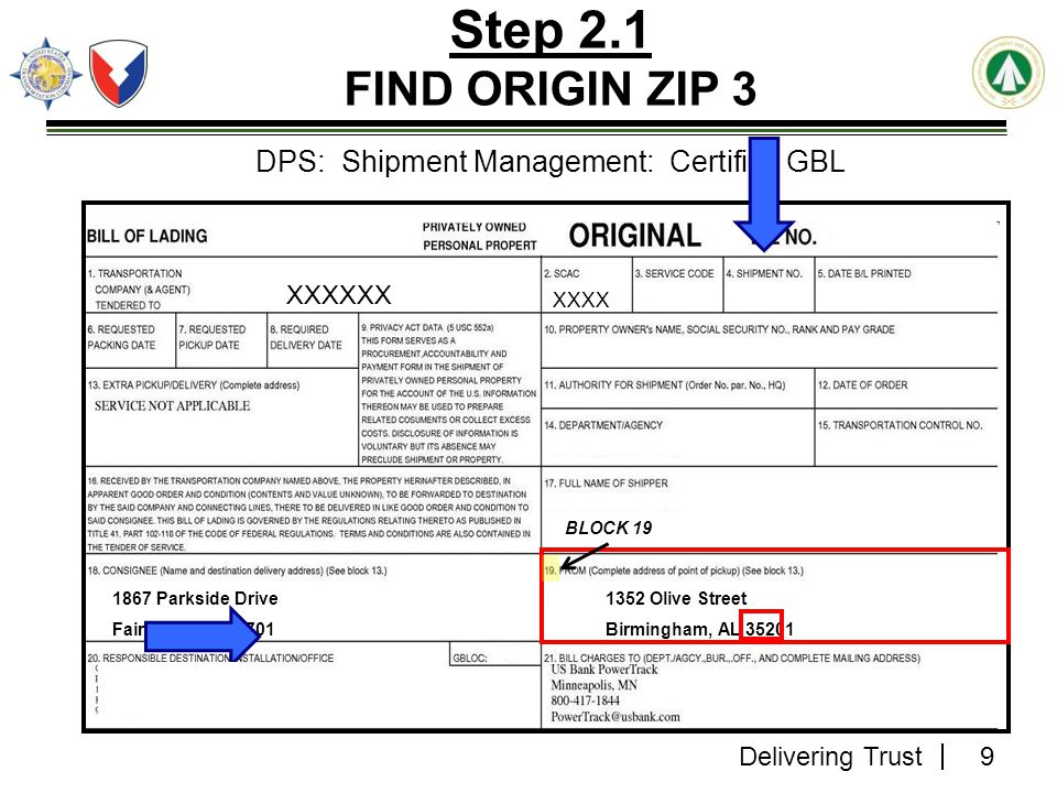 DPS: Shipment Management: Certified GBL