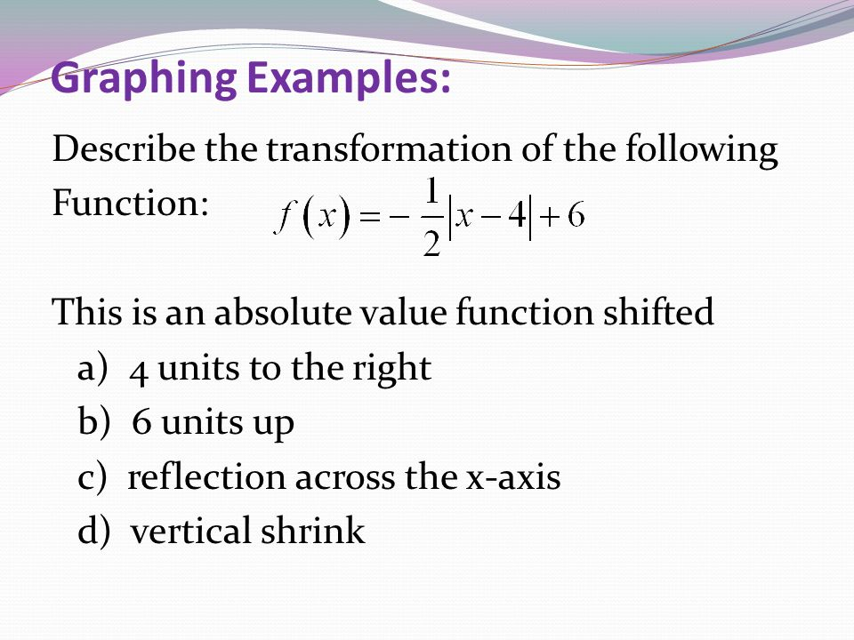Graphing Examples: Describe the transformation of the following