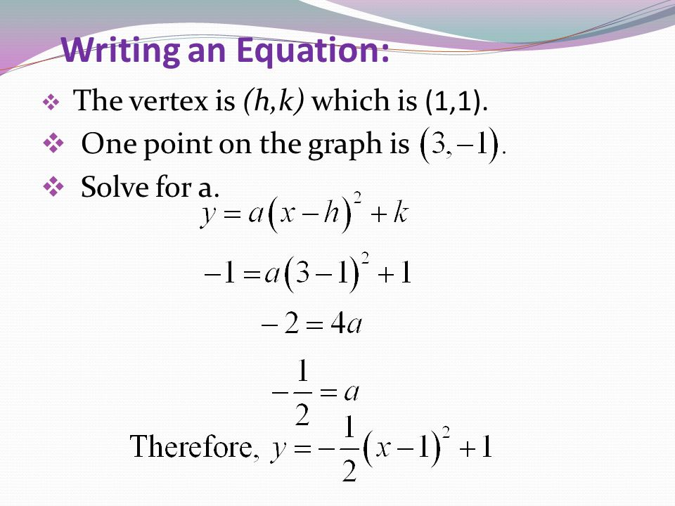 Writing an Equation: One point on the graph is Solve for a.