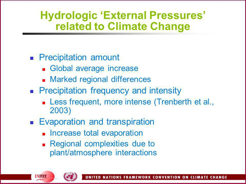 Hydrologic 'External Pressures' related to Climate Change