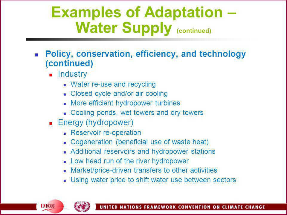 Examples of Adaptation – Water Supply (continued)