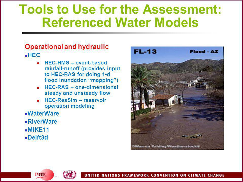 Tools to Use for the Assessment: Referenced Water Models