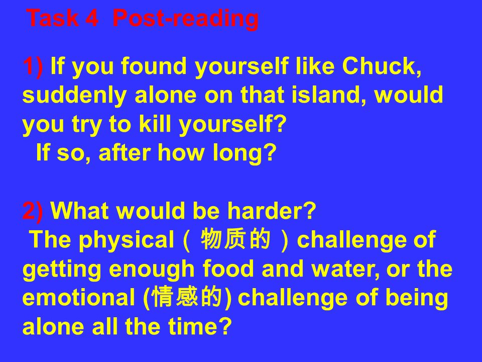 Task 4 Post-reading 1) If you found yourself like Chuck, suddenly alone on that island, would you try to kill yourself